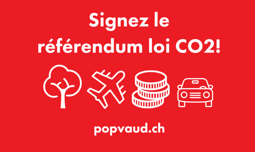 Prise de position et feuille de récolte de signatures concernant le référendum sur la nouvelle loi CO2